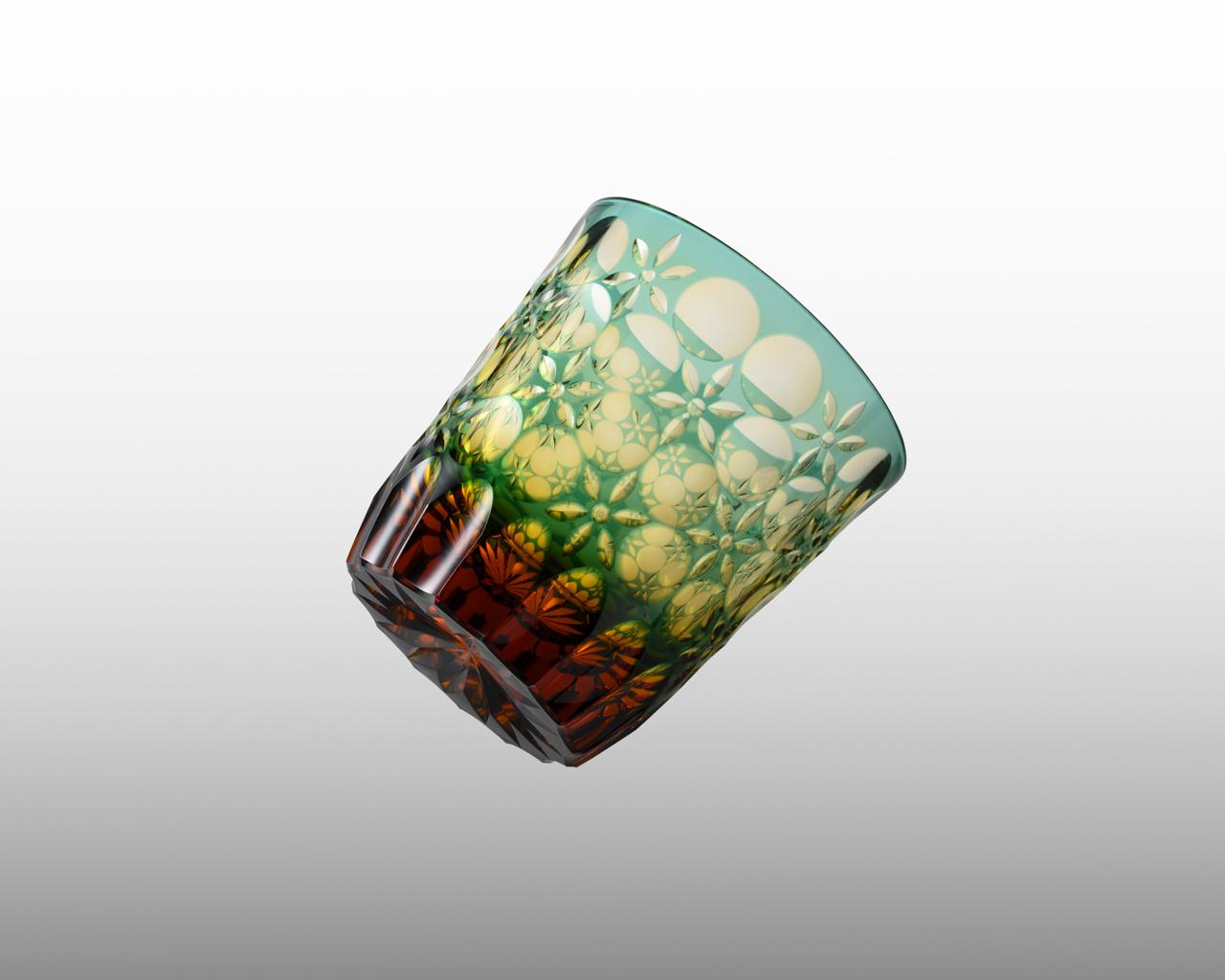 オールド 万華鏡 緑/琥珀