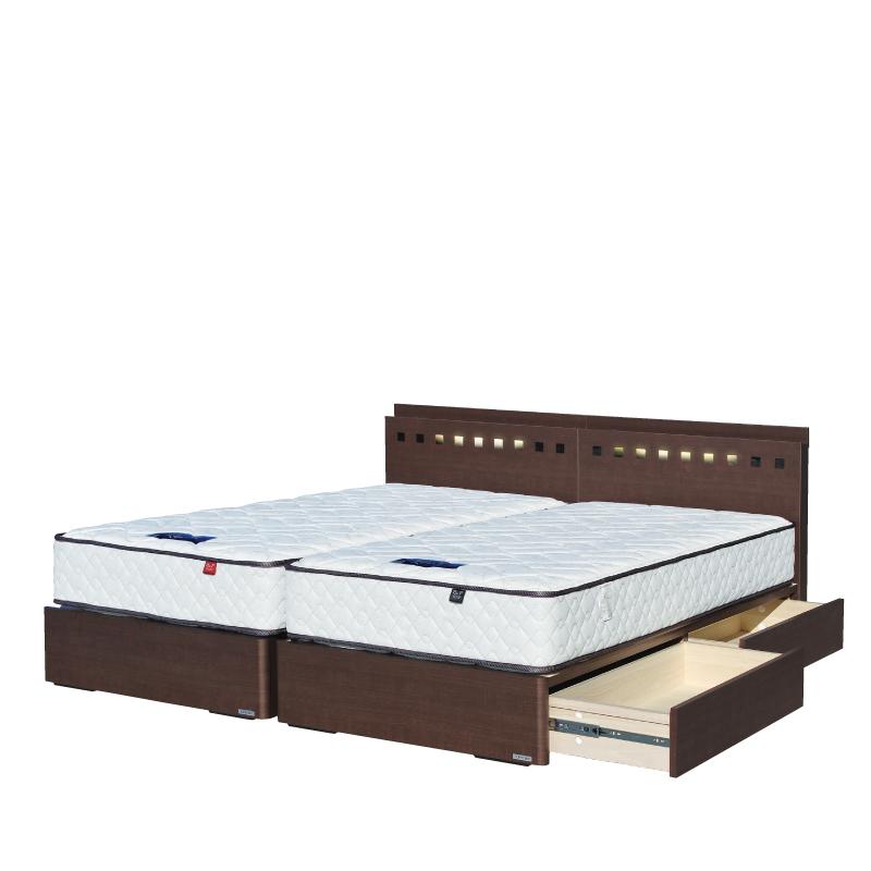【東京ベッド】 ツインベッド(引出し付き)セット マットレス付き(硬さ普通/茶色) ルカC+CD BL688BC