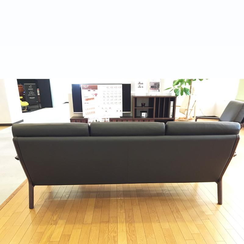 【カリモク】3人掛け革張りソファ WU4503K516 幅188cm karimoku 国産家具