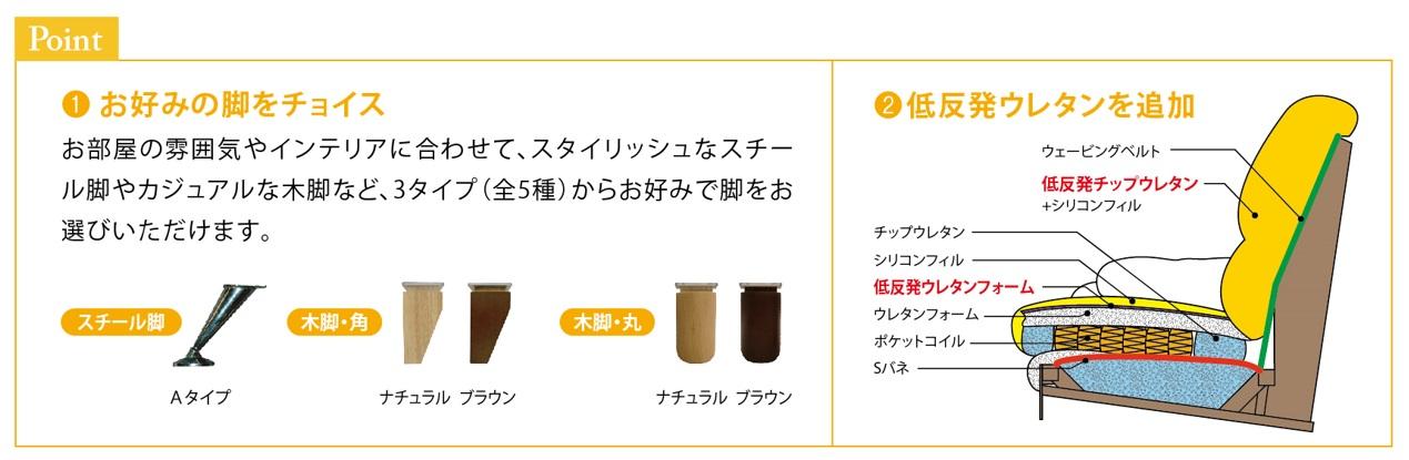 【関家具】 3人掛けソファ スイート� (SPレザー/スチールA) 合成皮革