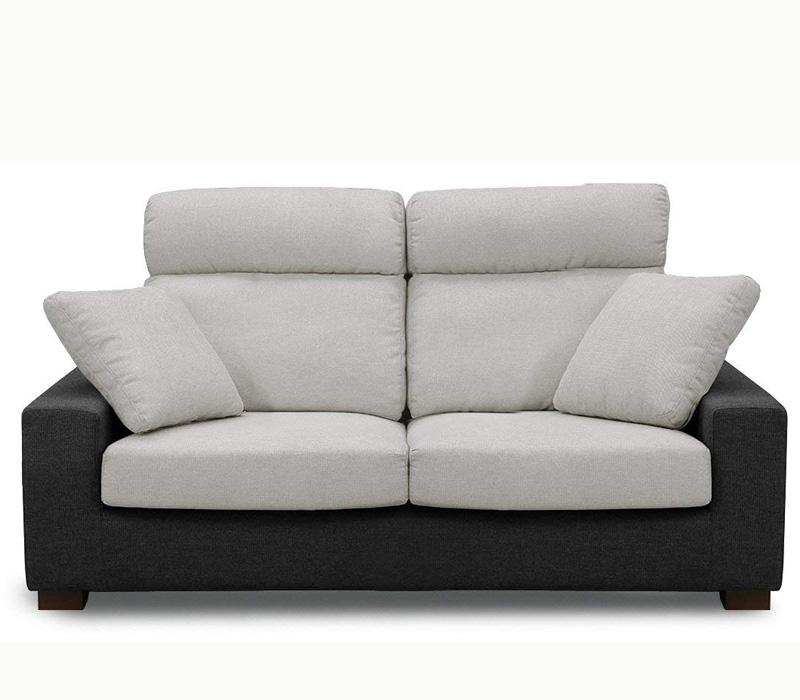 【関家具】 2人掛け布張りソファ サーカス グレー×ブラック 幅広め170cm