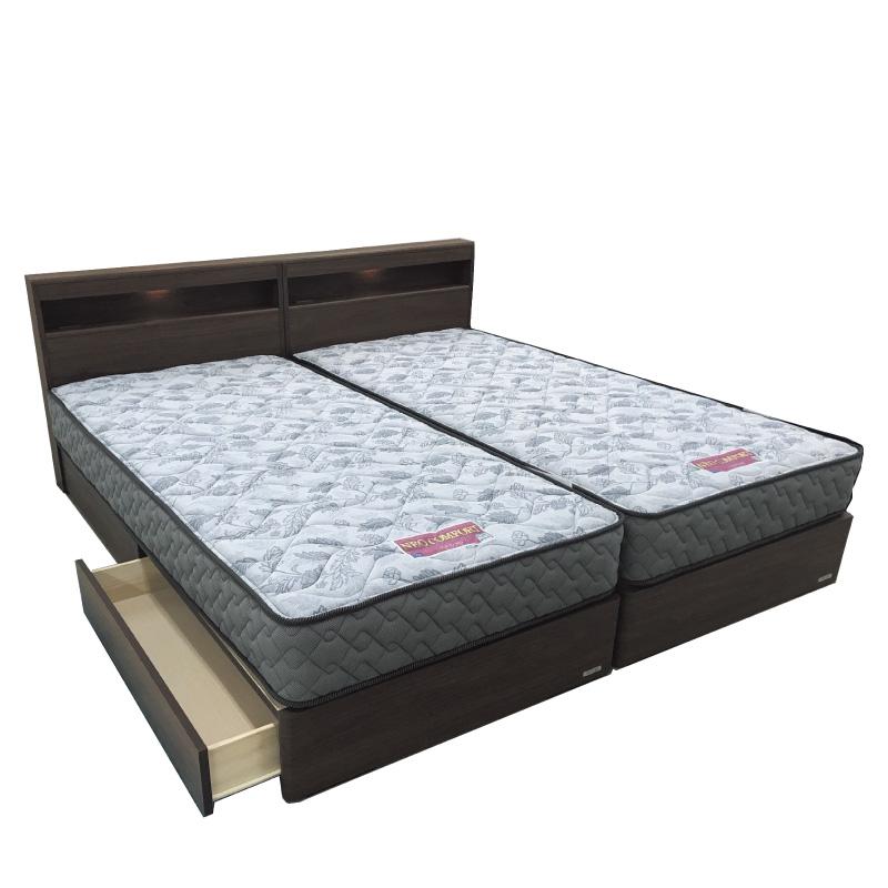 【東京ベッド】 ツインベッド(マットレス付き) エミリア(一台は引出付)マットレスハードタイプ LEDライト+コンセント付 ブラウン
