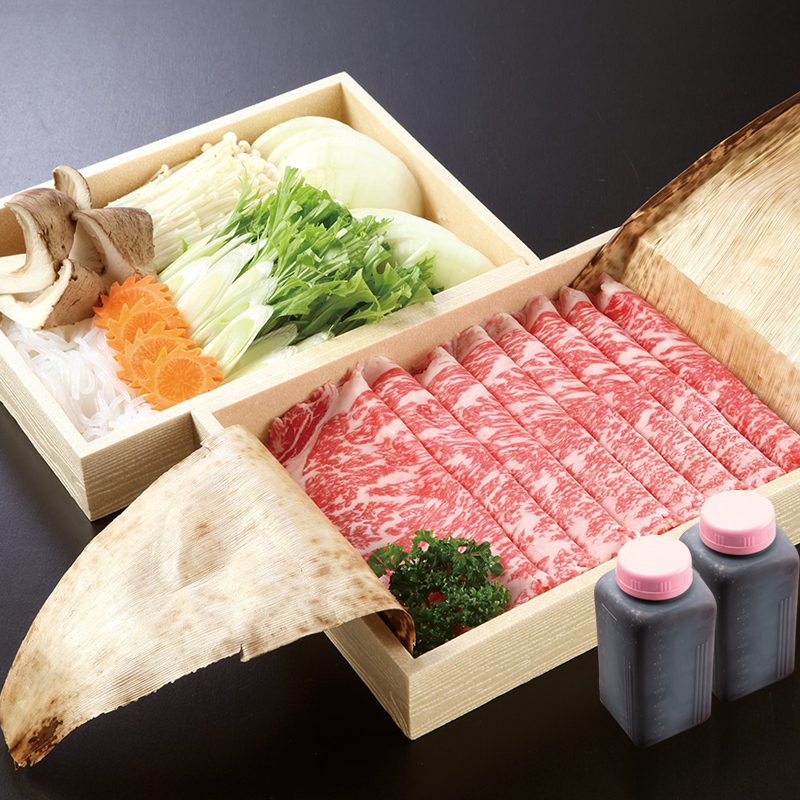 特選国産霜降牛すき焼きセット(ロース肉・野菜・割り下)[4人前]【セット】