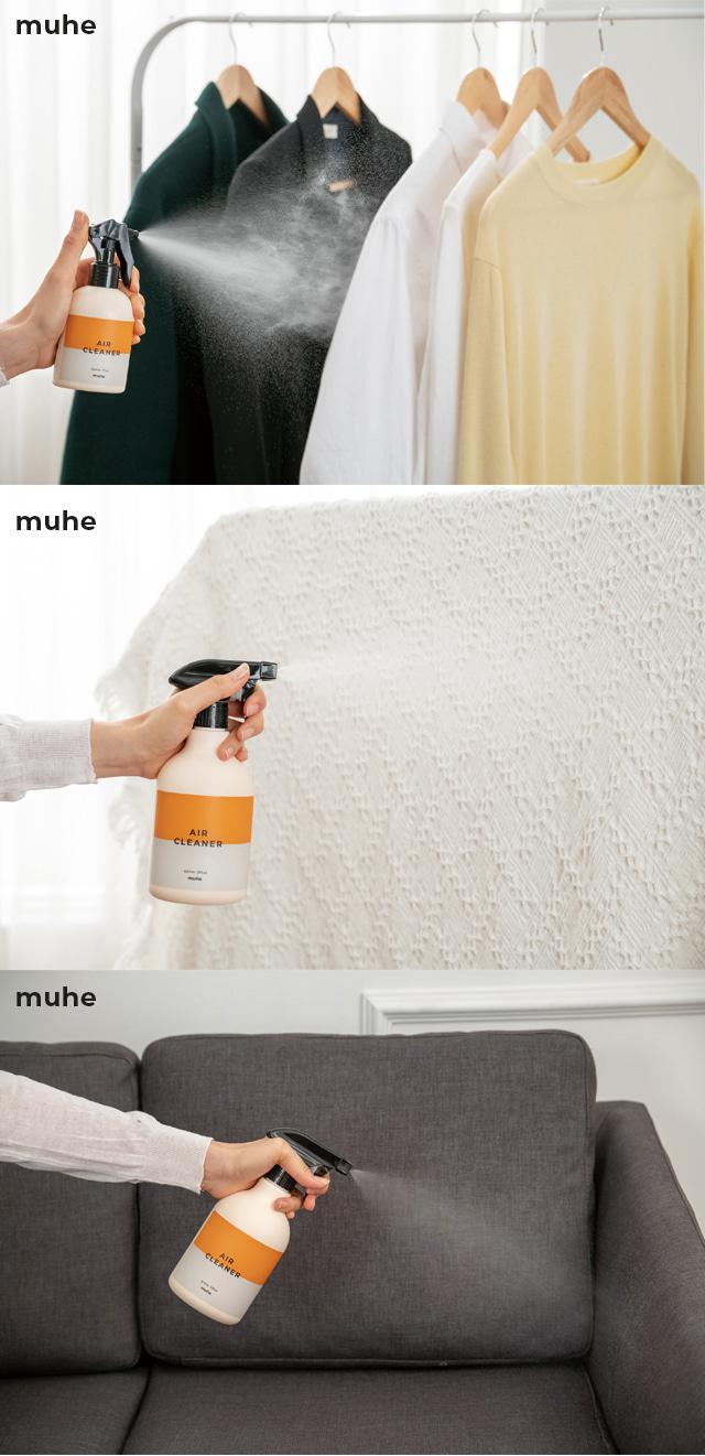 無害 空気清浄水 1000ml ×4個 詰め替え用 MUHE AIR CLEANER pm2.5対策 花粉対策 ウィルス対策 消臭 シックハウス対策 ユーカリオイル抽出物、ティーツリーオイル抽出物、パインオイル抽出物