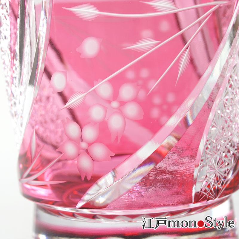 【送料無料】江戸切子グラス(しだれ桜・金赤)【メッセージ入れ可】