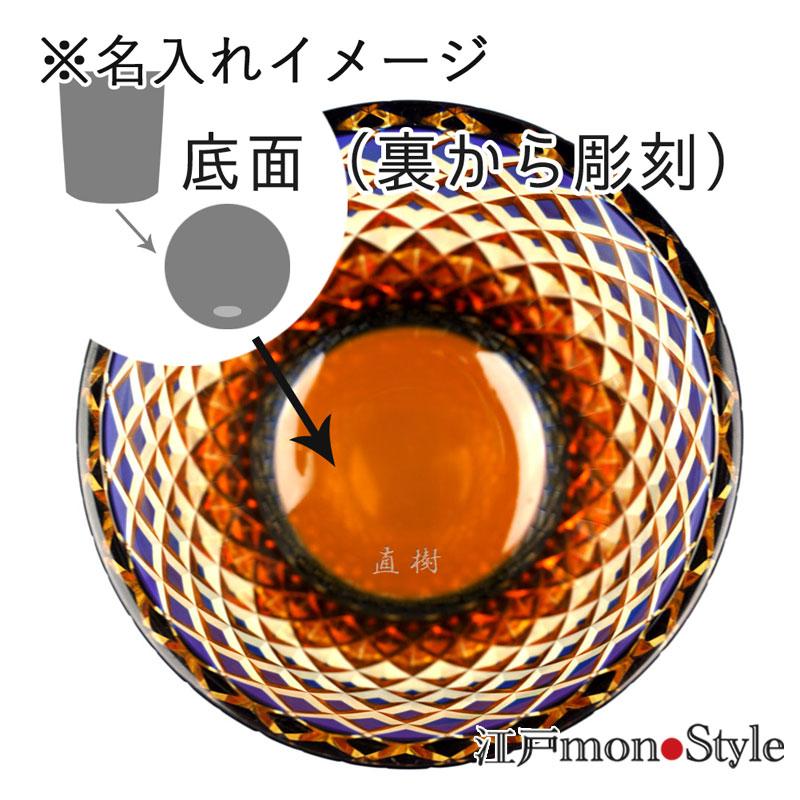 江戸切子グラス(竹編み/瑠璃×アンバー)【名入れ・メッセージ入れ可】