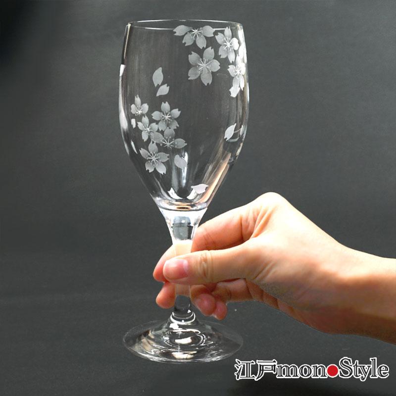 江戸切子・花切子ワイングラス(桜)【名入れ・メッセージ入れ可】