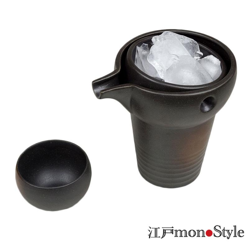 【美濃焼】冷酒器セットゆらり(1合用/黒備前風)