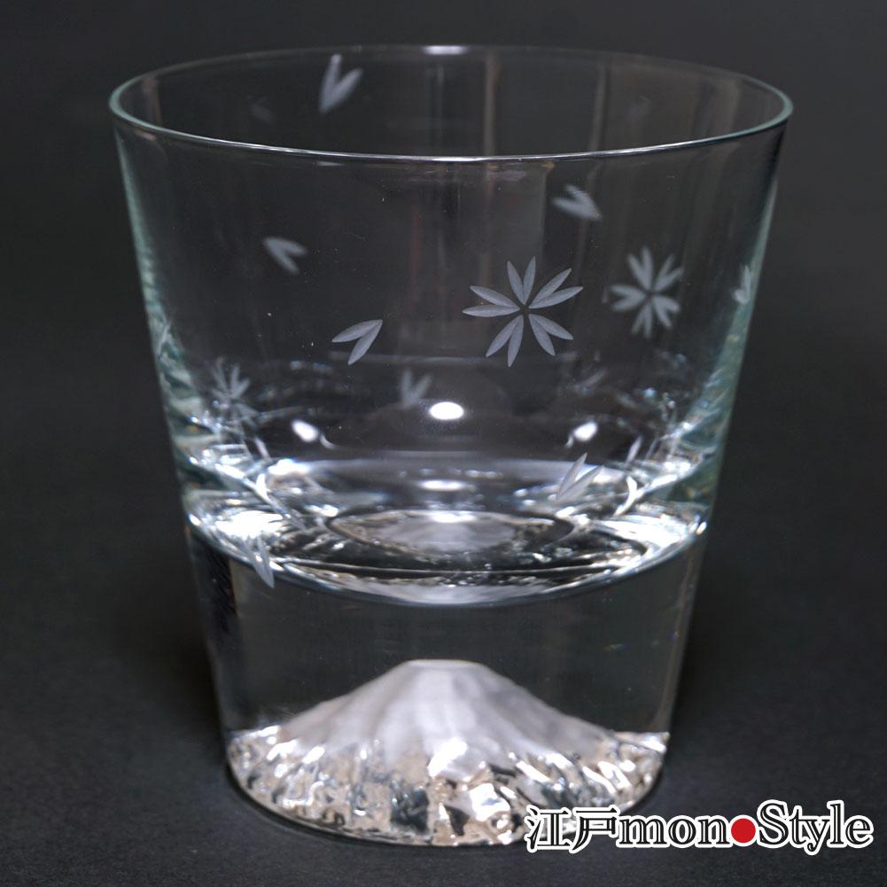 【江戸硝子】富士山ロックグラス(桜切子)【名入れ・メッセージ入れ可】