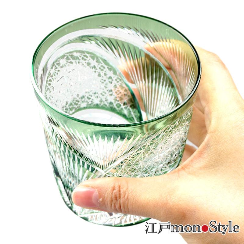 【送料無料】江戸切子グラス(飛翔/緑)【メッセージ入れ可】