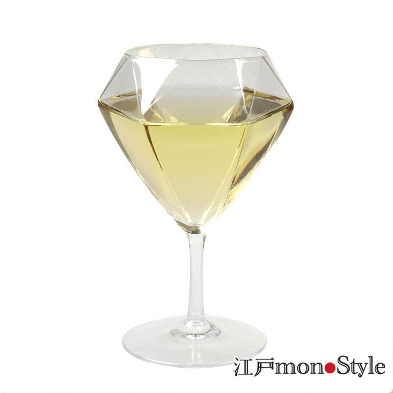 【江戸硝子】ダイヤモンドワイングラス(ショート)【名入れ可】