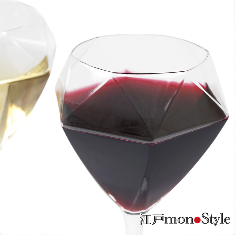 【ペア】【江戸硝子】ダイヤモンドワイングラス(ショート)【名入れ可】