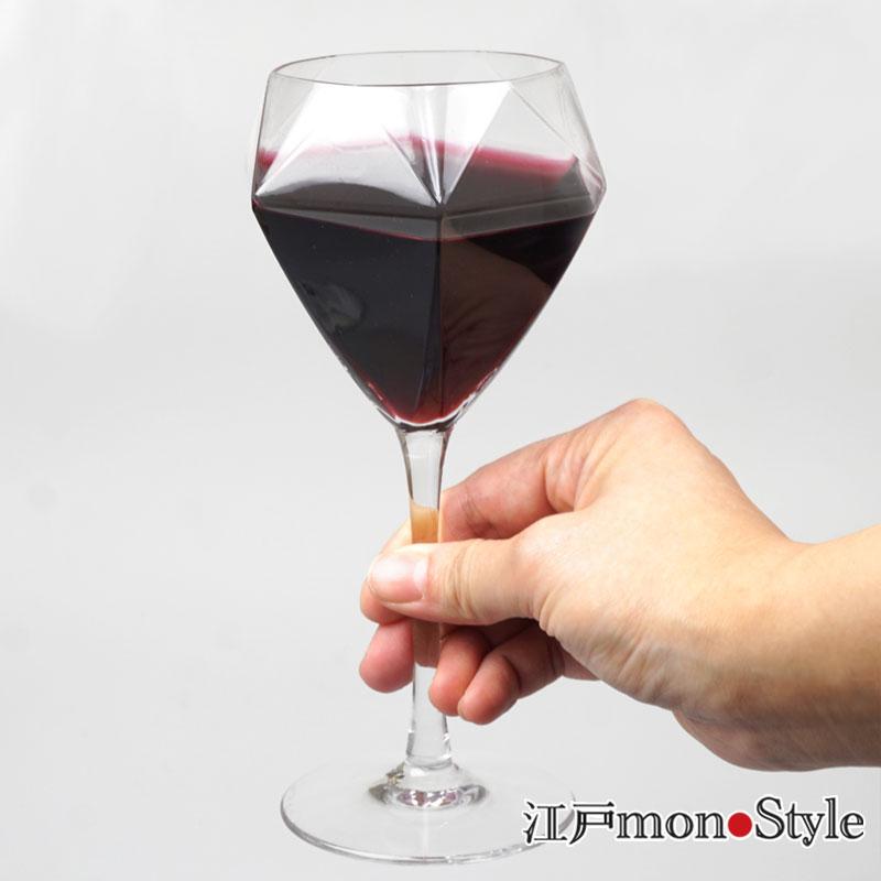 【ペア】【江戸硝子】ダイヤモンドワイングラス(ロング)【名入れ可】