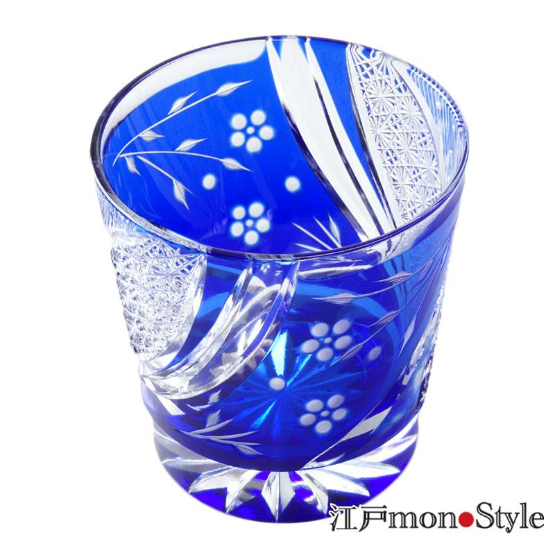 【送料無料】江戸切子グラス(しだれ桜・瑠璃)【名入れ・メッセージ入れ可】