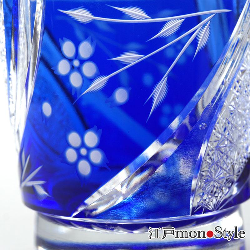 【送料無料】【ペア】江戸切子グラス(しだれ桜/金赤&瑠璃)【メッセージ入れ可】