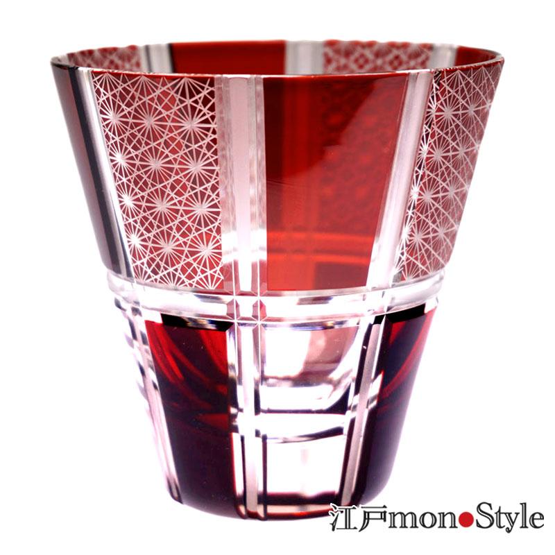 【送料無料】【ペア】江戸切子グラス(市松/赤&瑠璃)【名入れ・メッセージ入れ可】
