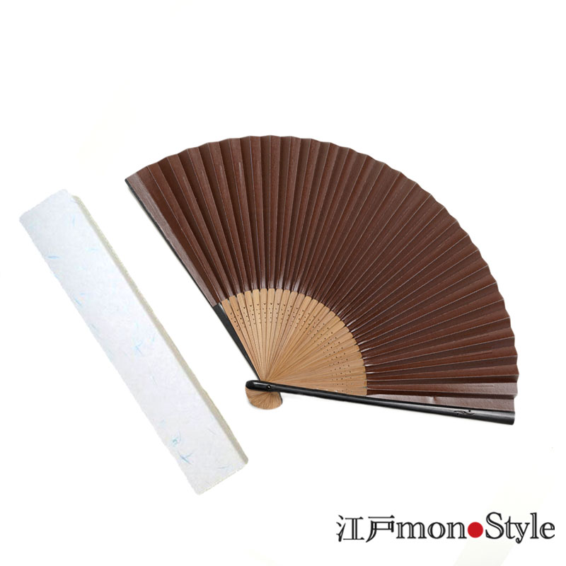 色渋扇子(麻の葉・茶・22.5cm)【名入れ可】