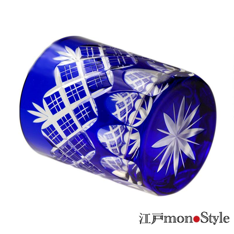 江戸切子オールドグラス(重ね矢来/瑠璃)【名入れ可】