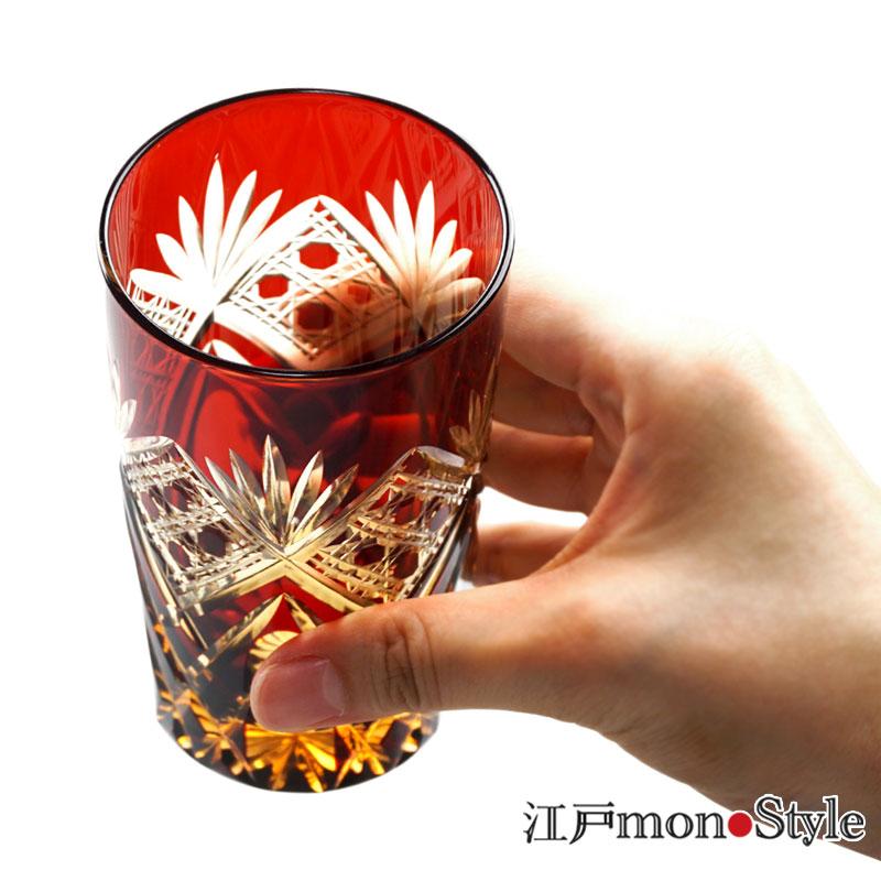 江戸切子タンブラー(笹と籠目/赤×アンバー)【名入れ・メッセージ入れ可】