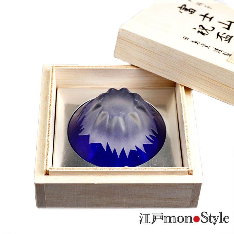 【江戸硝子】富士山ぐい呑み(青富士)【名入れ・メッセージ入れ可】