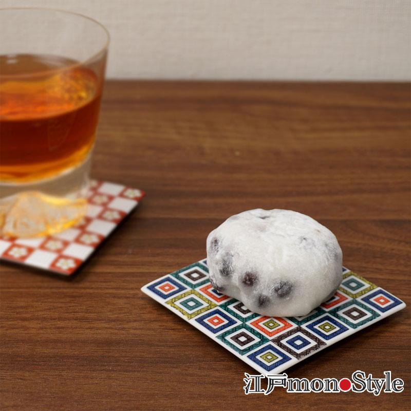 【九谷焼】色絵コースター 兼 角平皿 (石畳)