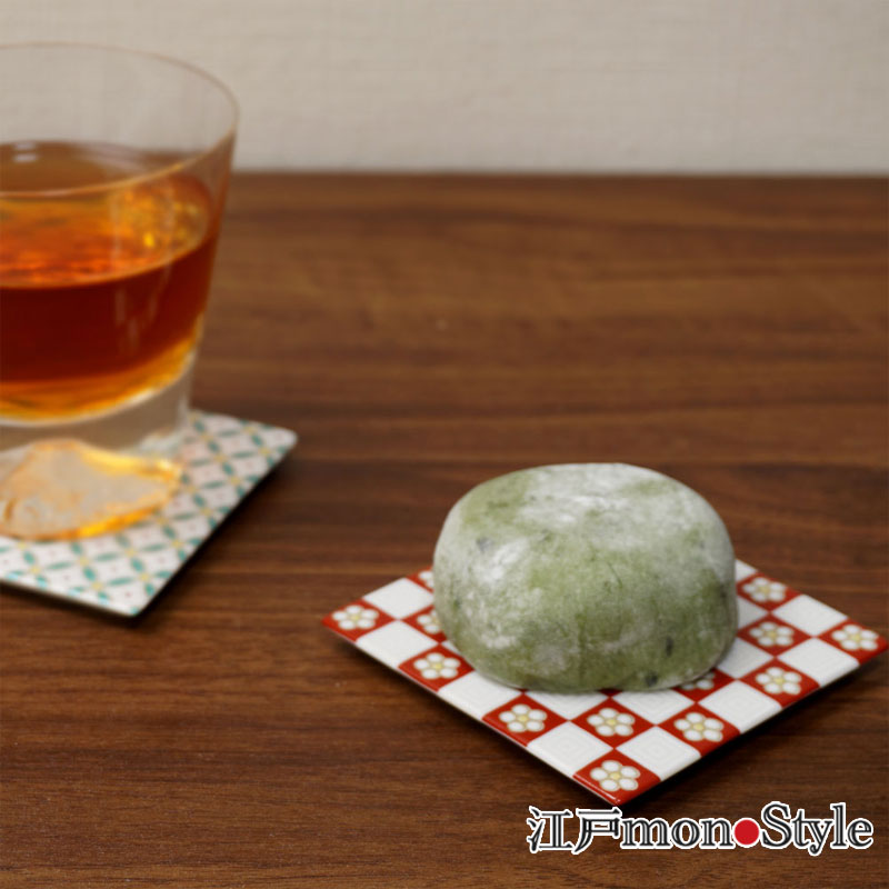 【九谷焼】色絵コースター 兼 角平皿 (梅市松)