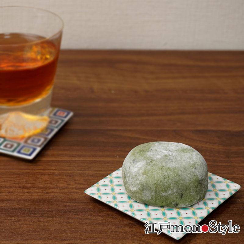 【九谷焼】色絵コースター 兼 角平皿 (七宝花菱)