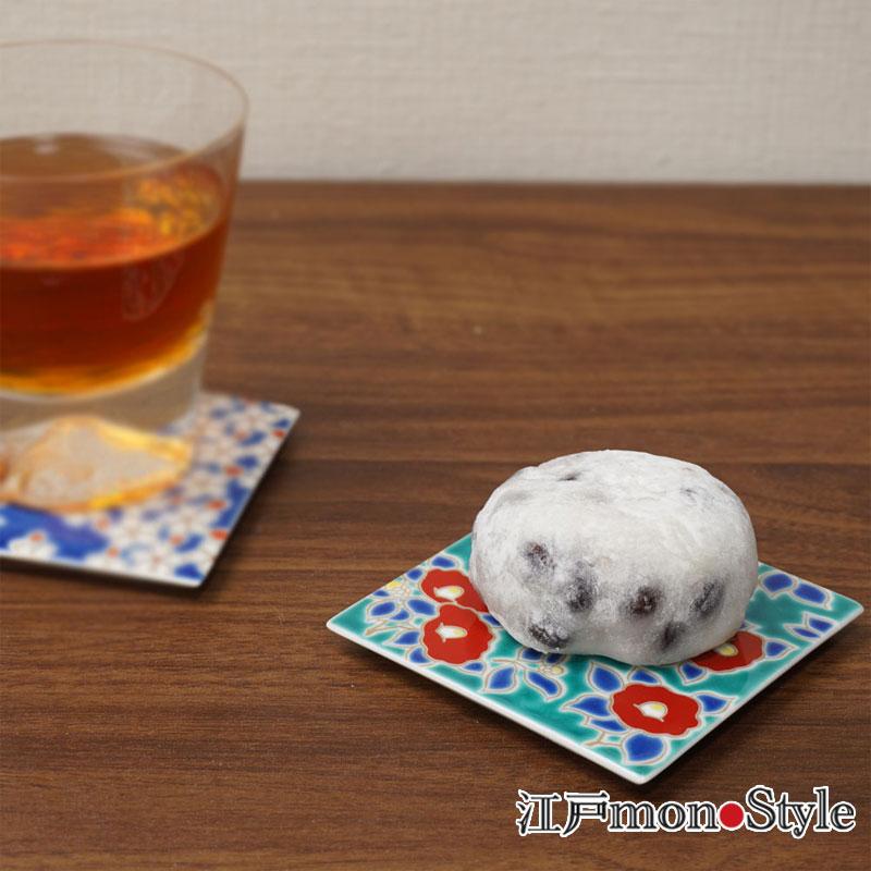 【九谷焼】色絵コースター 兼 角平皿 (椿)