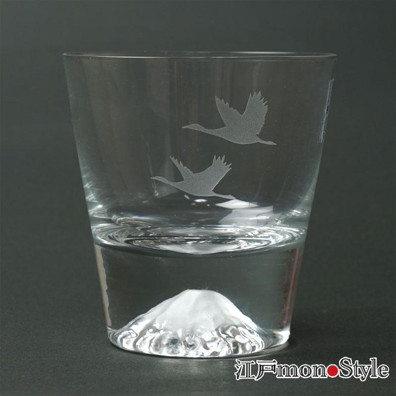 【当店限定】【江戸硝子】富士山ロックグラス(鶴)【名入れ・メッセージ入れ可】