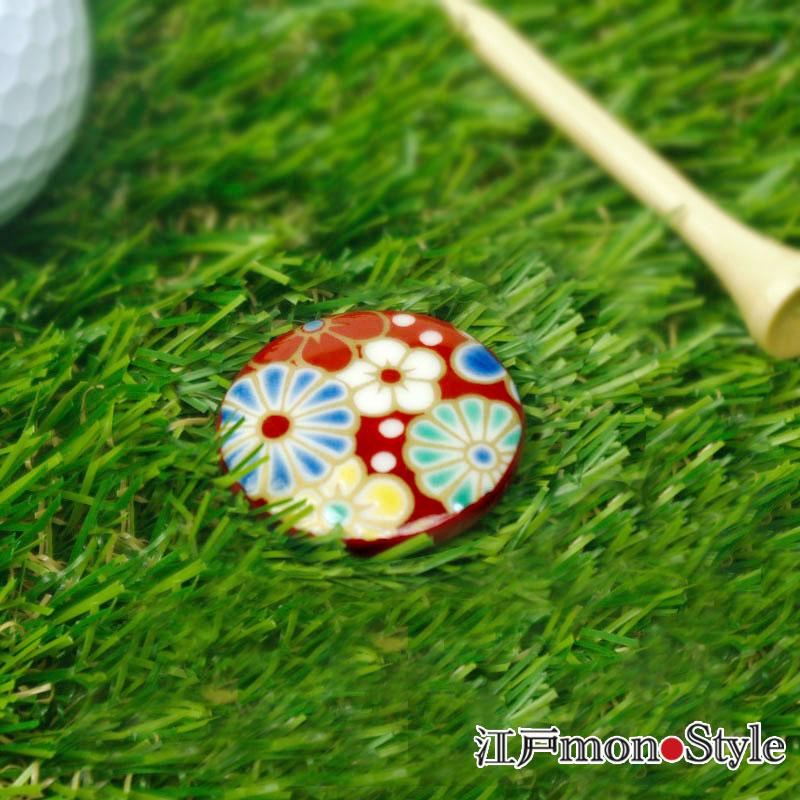 【九谷焼】ゴルフマーカー(梅菊)