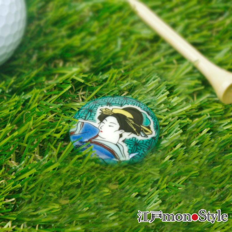 【九谷焼】ゴルフマーカー(美人画)