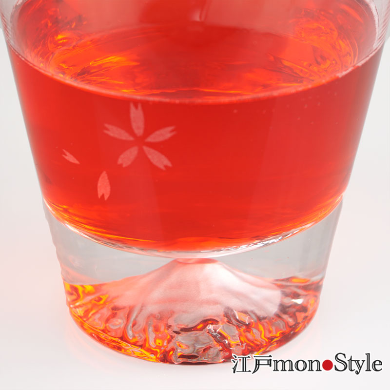【当店限定】【江戸硝子】富士山ロックグラス(桜)【名入れ・メッセージ入れ可】