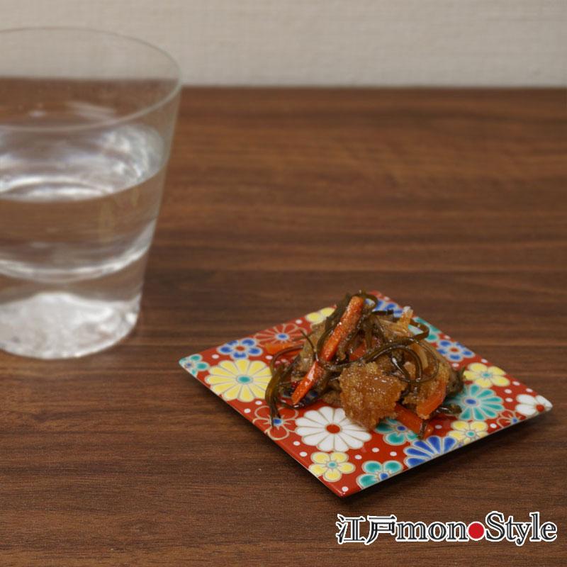 【九谷焼】色絵コースター 兼 角平皿 (梅菊)