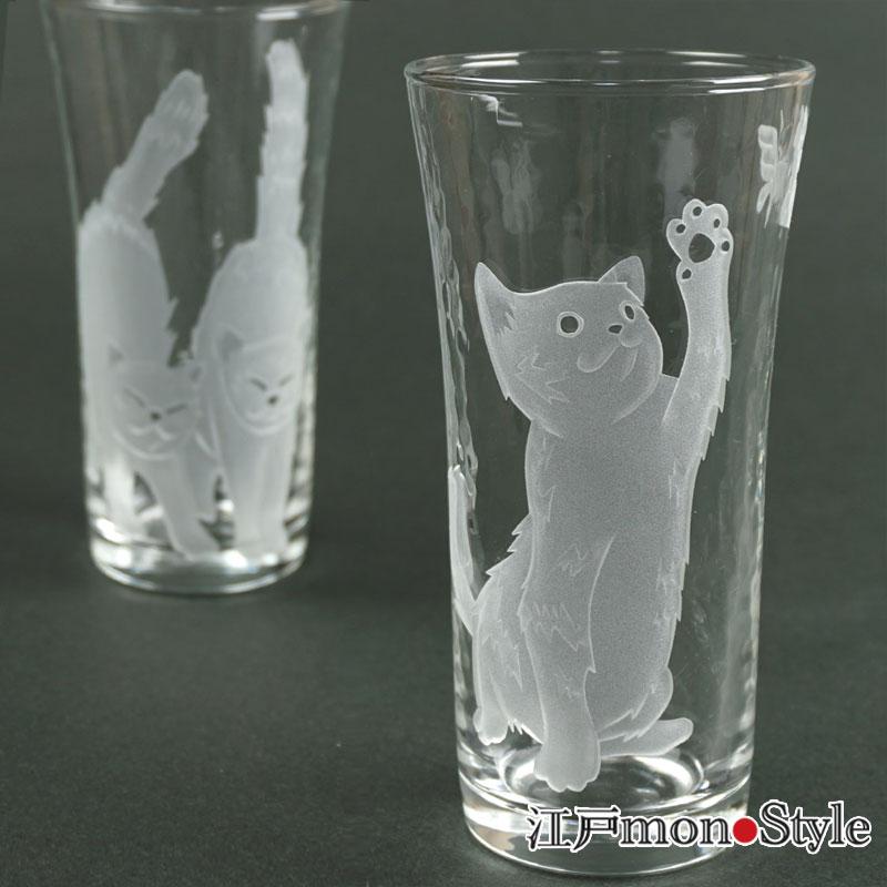 【サンドブラスト】猫タンブラー(猫と蝶)【名入れ可】