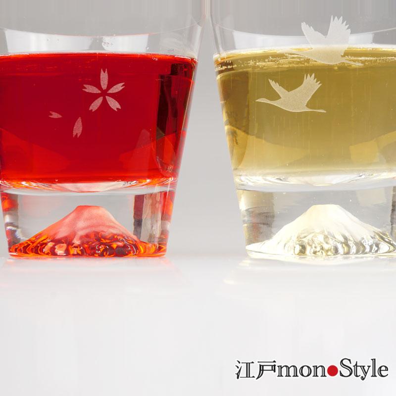 【専用ペア箱入り】【当店限定】【江戸硝子】富士山ロックグラス(桜と鶴)【名入れ・メッセージ入れ可】