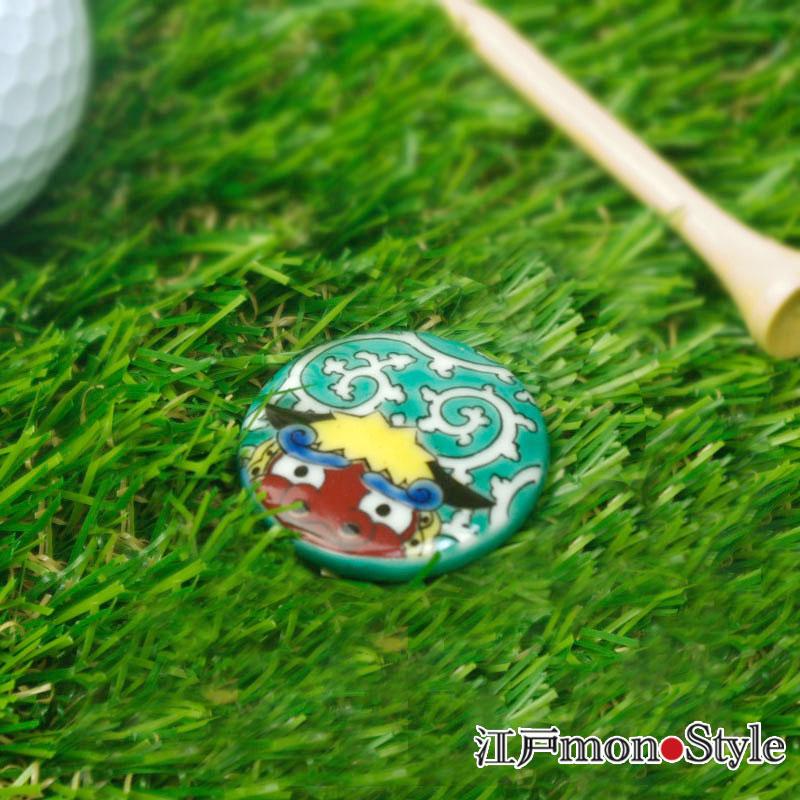 【九谷焼】ゴルフマーカー(獅子舞)