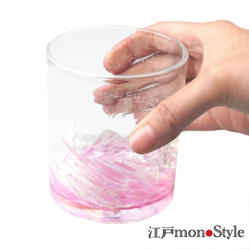 【琉球ガラス】ロックグラス(海蛍/ピンク)【名入れ・メッセージ入れ可】