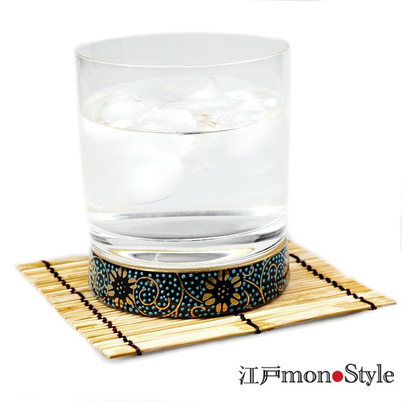 【九谷焼×江戸硝子】九谷和ロックグラス(青粒鉄仙)【名入れ・メッセージ入れ可】