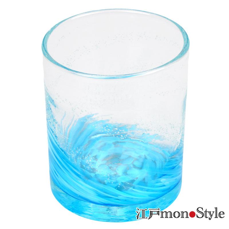 【琉球ガラス】ロックグラス(海蛍/ブルー)【名入れ・メッセージ入れ可】