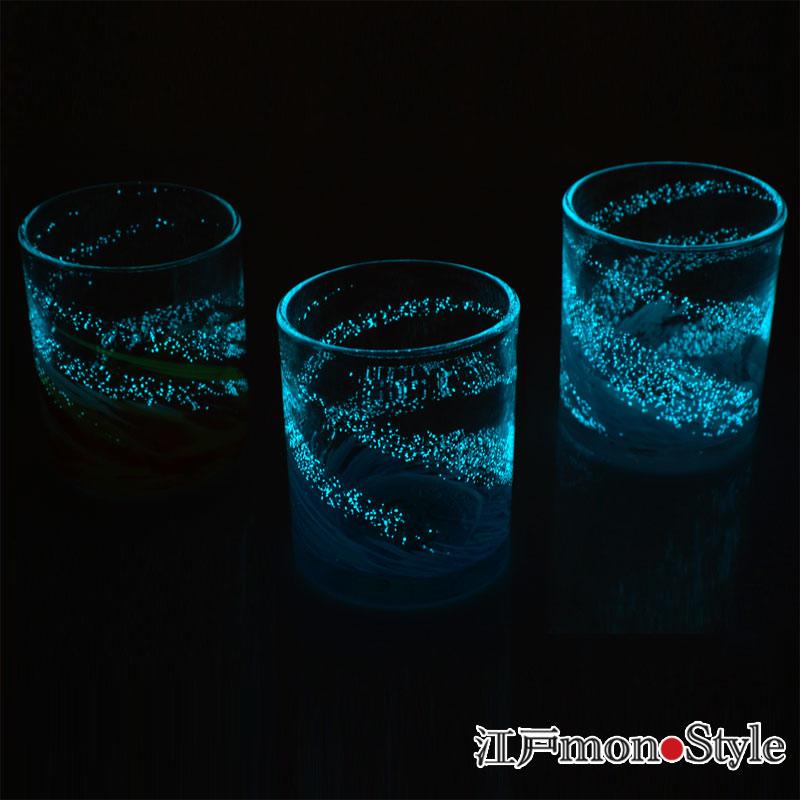【琉球ガラス】【ペア】ロックグラス(海蛍/ピンク&ブルー)【名入れ・メッセージ入れ可】