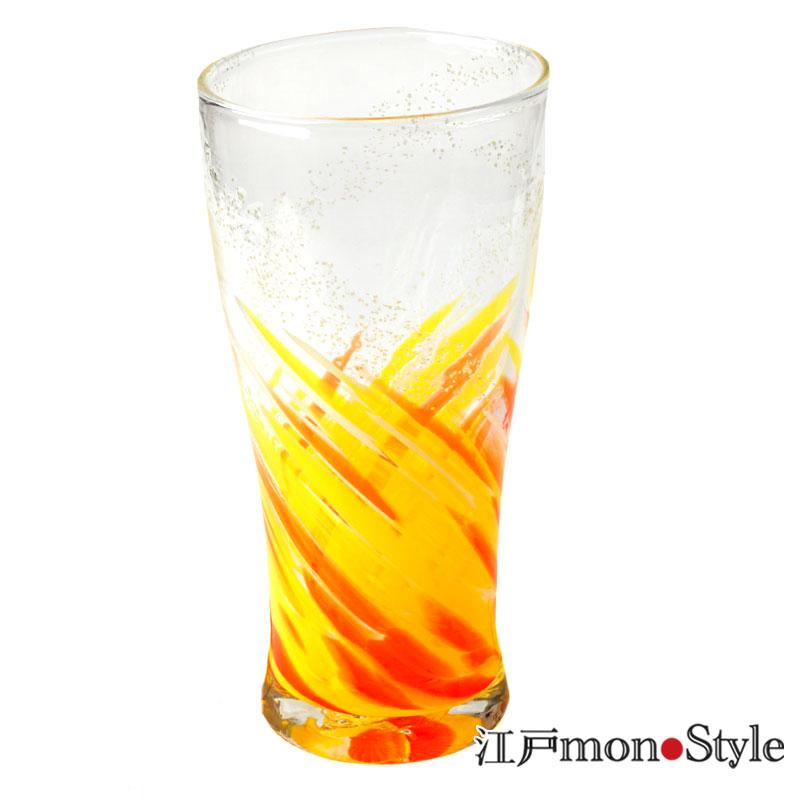 琉球ガラス トールグラス海蛍 オレンジ