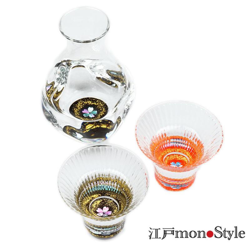 【高岡漆器】螺鈿グラス酒器セット(桜・赤&黒)