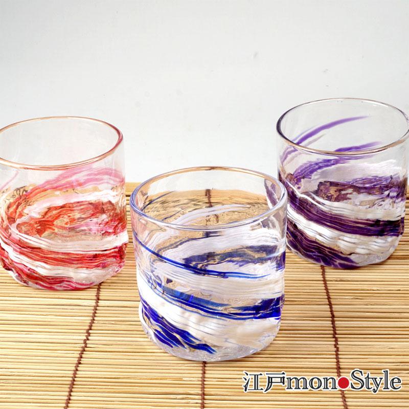 【琉球ガラス】ロックグラス(波渦/ワインレッド)【名入れ・メッセージ入れ可】