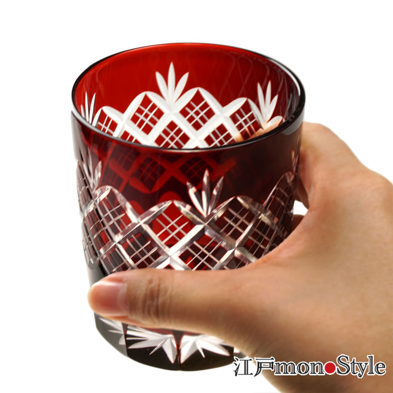 【ペア】江戸切子オールドグラス(重ね矢来/赤&瑠璃)【名入れ・メッセージ入れ可】