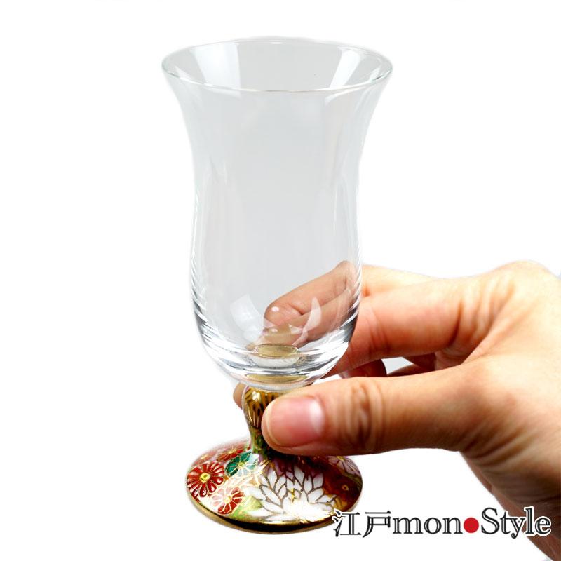 【九谷焼×江戸硝子】九谷和冷酒グラス(金花詰)【名入れ・メッセージ入れ可】