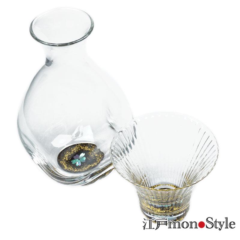 【高岡漆器】螺鈿グラス酒器セット(桜・黒)
