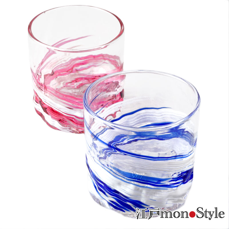【琉球ガラス】【ペア】ロックグラス(波渦/ワインレッド&マリンブルー)【名入れ・メッセージ入れ可】