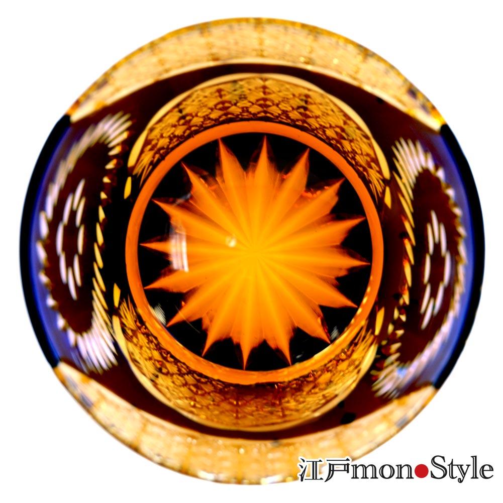 【送料無料】江戸切子グラス(Ring/瑠璃×アンバー)【名入れ・メッセージ入れ可】