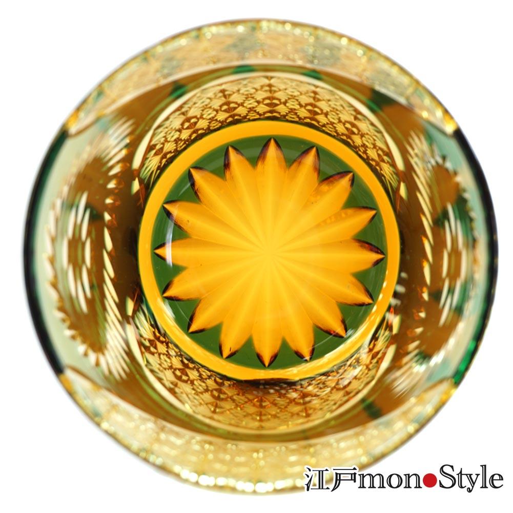 【送料無料】江戸切子グラス(Ring/緑×アンバー)【名入れ・メッセージ入れ可】
