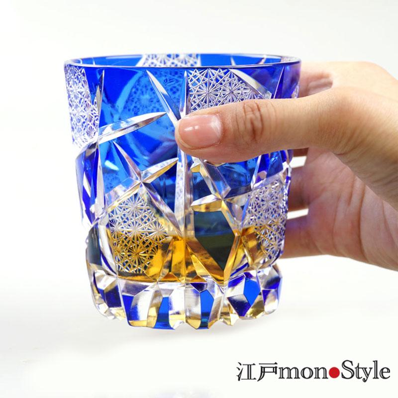 【送料無料】【ペア】江戸切子グラス(crack/金赤&瑠璃)【名入れ・メッセージ入れ可】